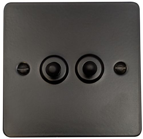 G&H FFB282 Flat Plate Matt Black 2 Gang 1 or 2 Way Toggle Light Switch